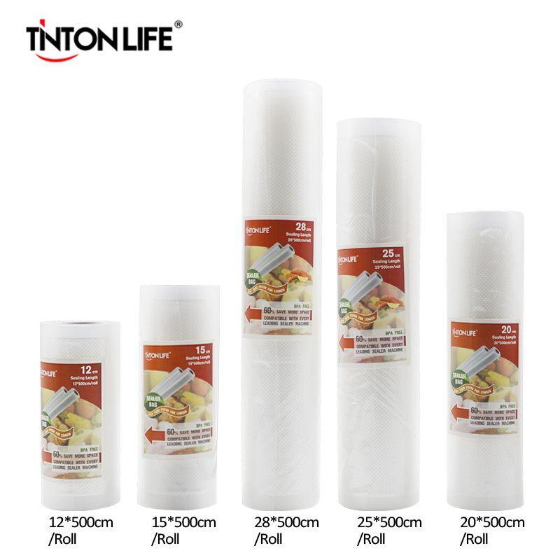 Tinton жизни Кухня Еда вакуумный мешок Сумки для хранения для вакуумный упаковщик Еда свежий долго сохраняя 12 + 15 + 20 + 25 + 28 см * 500 см 5rolls/lot