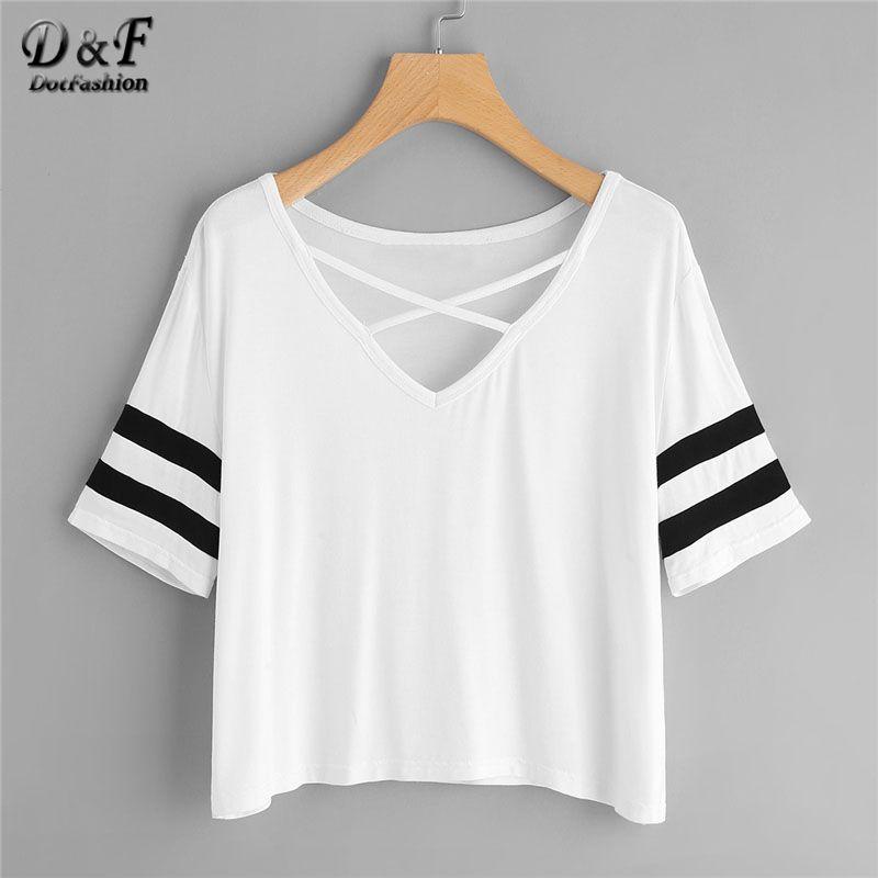 Dotfashion Crisscross Neck Striped Sleeve T Shirts Women White V Neck Short Sleeve Preppy Summer Crop Tops 2018 Casual T-shirts
