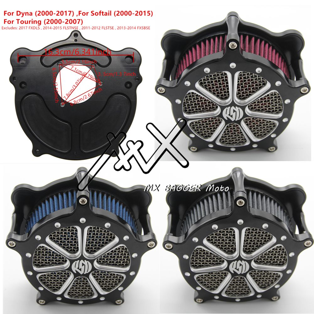 RSD Motorcycle Air Filter Cleaner Venturi For Harley Dyna 2000-2017 Touring 2000-2007 Softail 2000-2015 Gray Blue Red Element