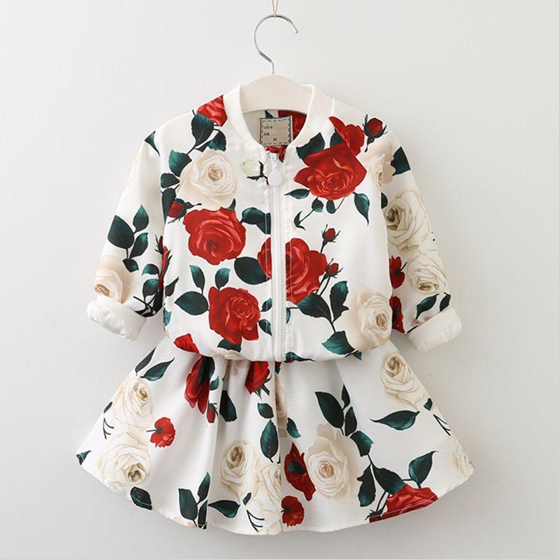 Beenira Filles ensembles de vêtements 2019 nouveauté Automne O-cou Rose Motif Solide Enfants ensembles de vêtements vêtement pour enfants Robe 3-8Year
