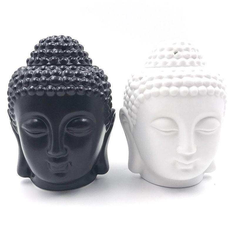 Ароматерапия масло горелка головы Будды аромат масла станции Керамика Индии храм Ладан черный, белый цвет Будды Ладан S $