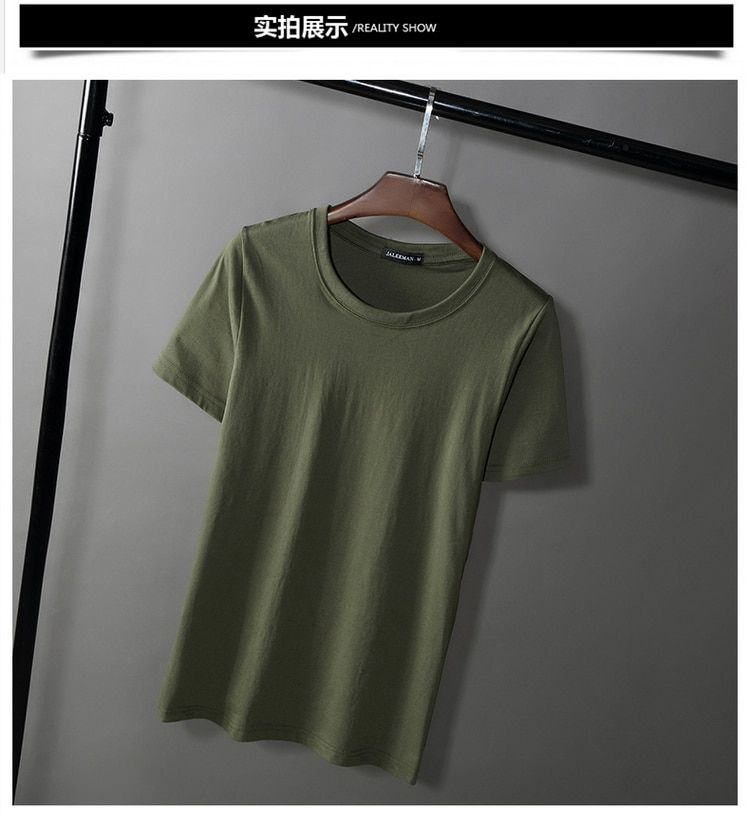 Summer men's short-sleeved T-shirt round collar with pure color bottom shirt han version of the loose half sleeve top cotton men