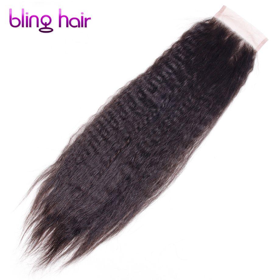 Blinghair Remy brasileño recto rizado Cabello humano 4*4 Cordones de cierre color natural 10 A 22 pulgadas 130% suizo Cordones de cierre
