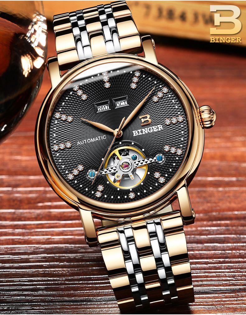 Binger Brand Fashion Luxury Relogio Men's Watches Automatic Watch Self-Wind Clock Male Business Waterproof Mechanical Watches
