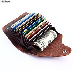 Maillusion RFID Genuine Leather Unisex Business Card Holder Wallet Men And Women Bank Credit Card Case ID Holders Female Purse