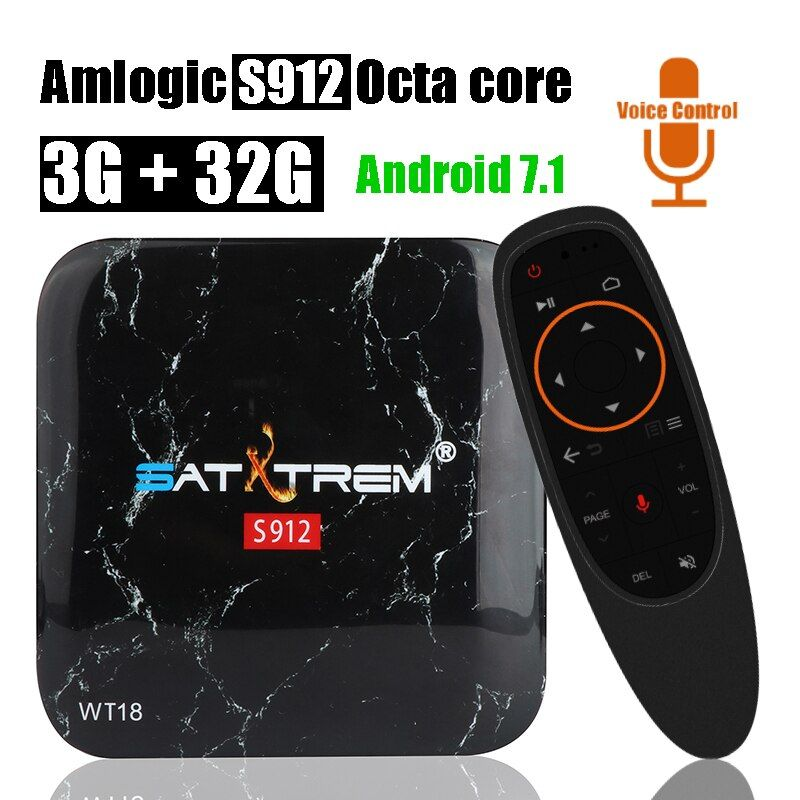 Satxtrem WT18 ATV Voice Control 3GB 32GB Smart Android TV Box Amlogic S912 Octa Core Set Top Box Wifi BT 4.0 4K HD Media Player