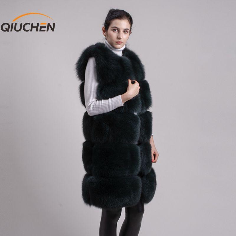 QIUCHEN Echtpelz PJ8034 2019 Neue Modell Weste Winter Frauen Gilet High-end-Fuchs Mantel Mode Großhandel Abgedeckt Taste sleeveless