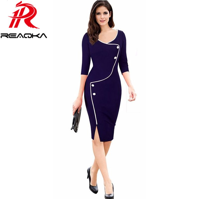 Elegant Women Vintage Office Work dress Casual 3/4 Sleeve Business Bodycon Female Pencil Plus size womens Dresses vestidos 2017