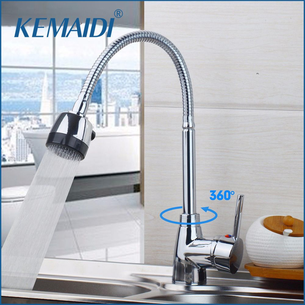 KEMAIDI Kitchen Sink Basin Faucet Swivel Spout Contemporary Chrome Ceramic Plate Spool Hot Cold Water Mixer Taps Kitchen Faucet