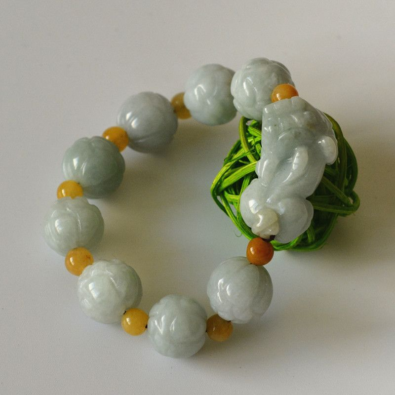Natural Green Bracelet Carved Lotus PIXIU Bead Bracelet Single Lap Hand String Bangles Gift For Woman 's fashion Jadeite Jewelry