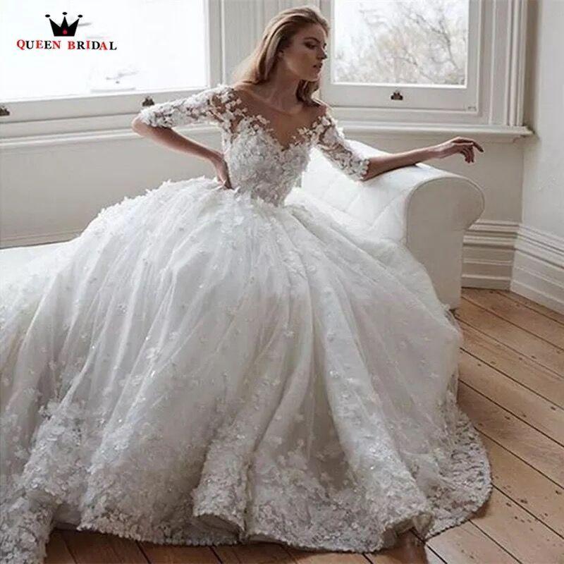 Custom Made Halbe Prinzessin Flauschigen Lange Zug Tüll Spitze Blumen Appliques Luxus Vintage Hochzeit Kleider Brautkleid SV01
