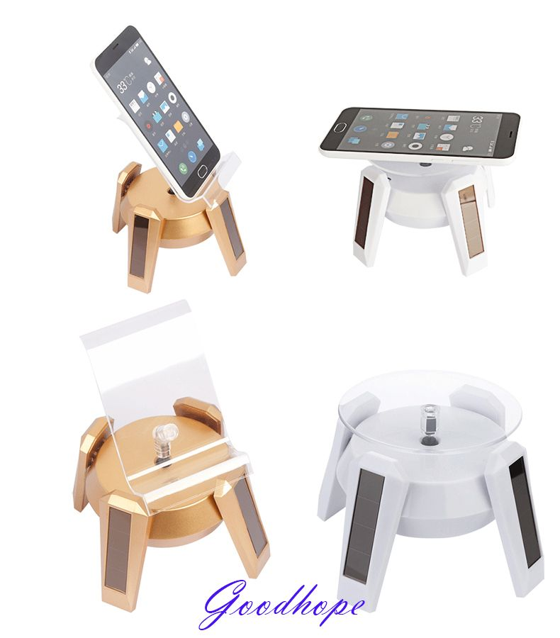 New Solar Powered Jewelry Phone Watch Rotating Display Stand Holder 360 Turn Table with LED Light Cruve Presentation Showcase