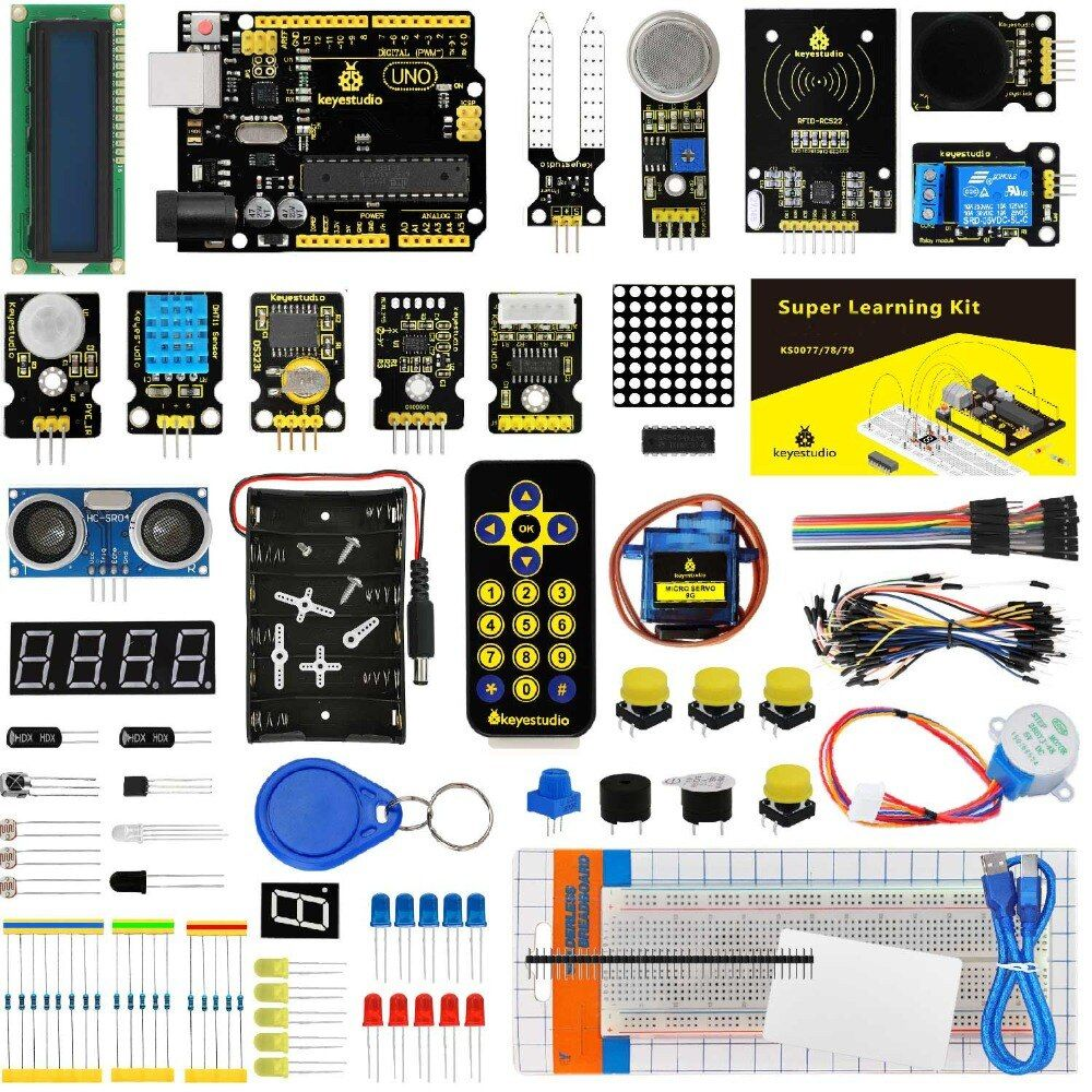 Keyestudio <font><b>Super</b></font> Starter kit/Learning Kit(UNO R3) for Arduino Education W/Gift Box+ 32 Projects +User Manual+PDF(online)