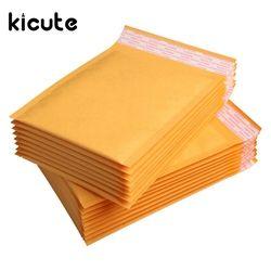 Kicute 50 pcs/lot Top Qualité Jaune Kraft Enveloppes À Bulles Rembourré Enveloppes D'expédition Self Seal Sac Business School Bureau Fournitures