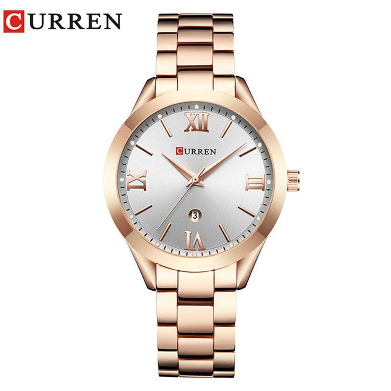 CURREN 9007 New Women Watch Top Luxury Brand Female Quartz Watch Ladies Fashion Dress Wristwatches Relogio Geminino Rose Gold