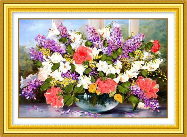 Couture, Chinois DIY Ruban point de Croix Ensembles pour Broderie kit, belle Violet fleurs Croix-Point De travail manuel maison décor