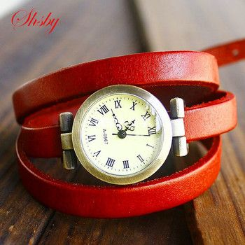 shsby Hot-selling Genuine cow long leather vintage female quartz watch ROMA digital watch women dress watches