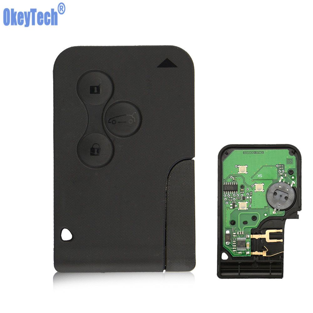 OkeyTech 3 Buttons 433Mhz ID46 PCF7926 PCF7947 Chip Emergency Smart Remote car Key For Renault Megane key 2 Scenic Card II Grand