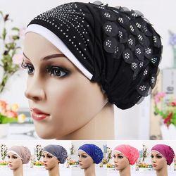 Double Couleur Turban De Luxe Enveloppé la Tête Écharpe Foret Chaud Cristal Fleur Chapeau Hijab Musulman Queue Tête Wraps Cap