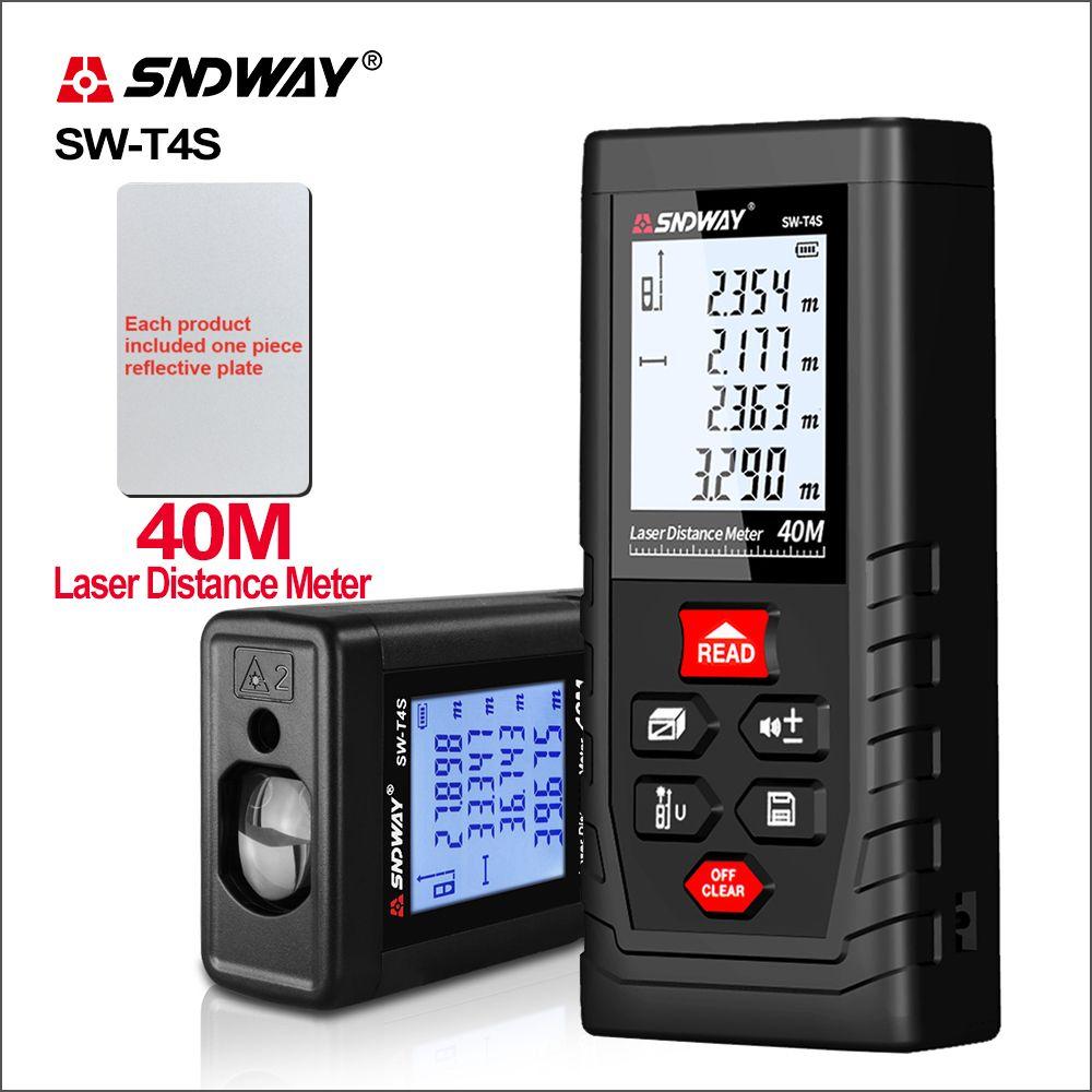 SNDWAY Laser Rangefinder Roulette Distance Meter Range Laser Tape Measure Tool Device Finder SW-T4S/T40 laser Distance Meter