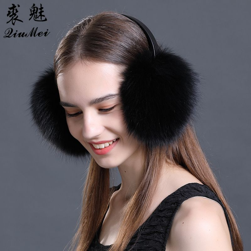 Real Fur Earmuffs Winter Accessories Women Ear Cover Protector Cute Pink Ear Warmer Solid Ladies Real Fox Fur Raccoon Ear Muffs