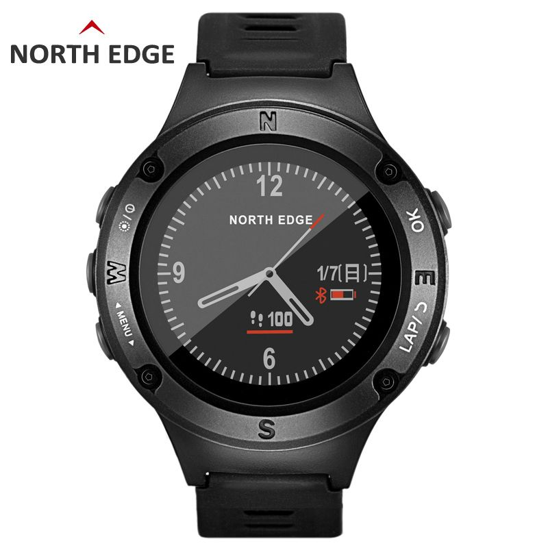NORTH EDGE Men's GPS smart watch Digital watches Waterproof bluetooth Heart Rate Altimeter Compass Android IOS hours running