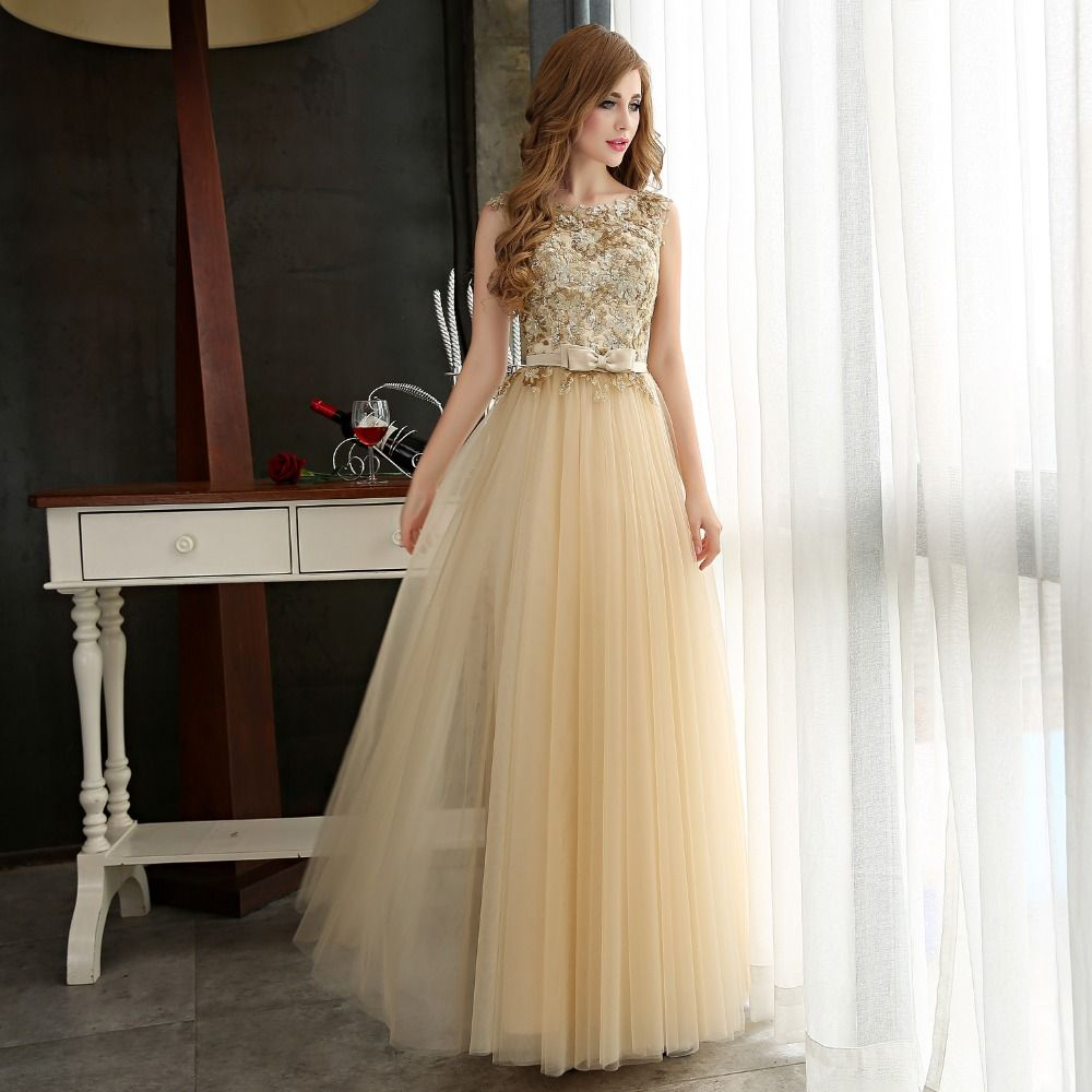 Evening Dress Long Women Stunning Gold Golden Gowns Formal Sequins Special Occasion 2016 Sequined Tulle Lace  vestidos de noche