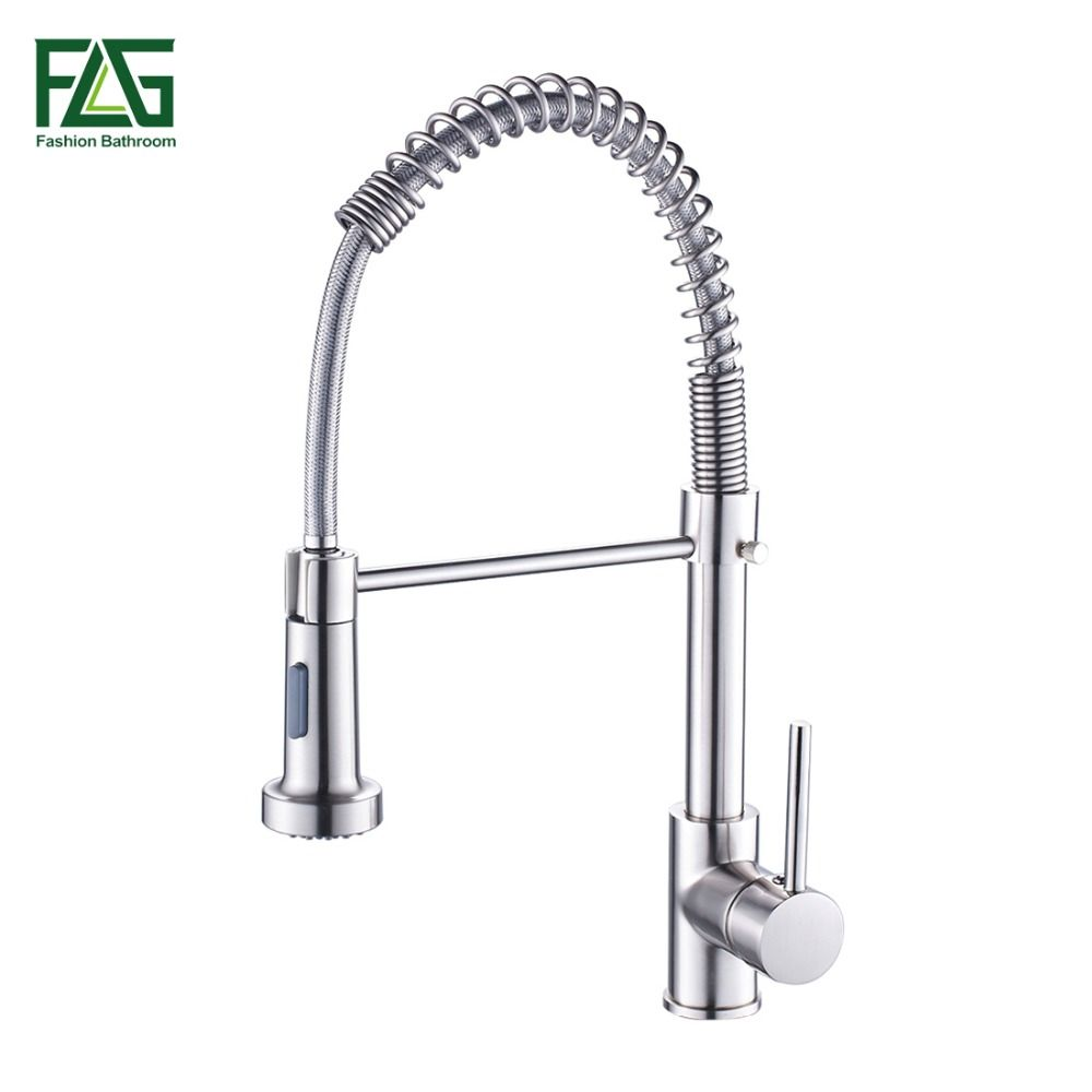 Spring Style Kitchen Faucet Brushed Nickel Faucet Pull Out Torneira All Around Rotate Swivel 2-Function Water Outlet Mixer Tap