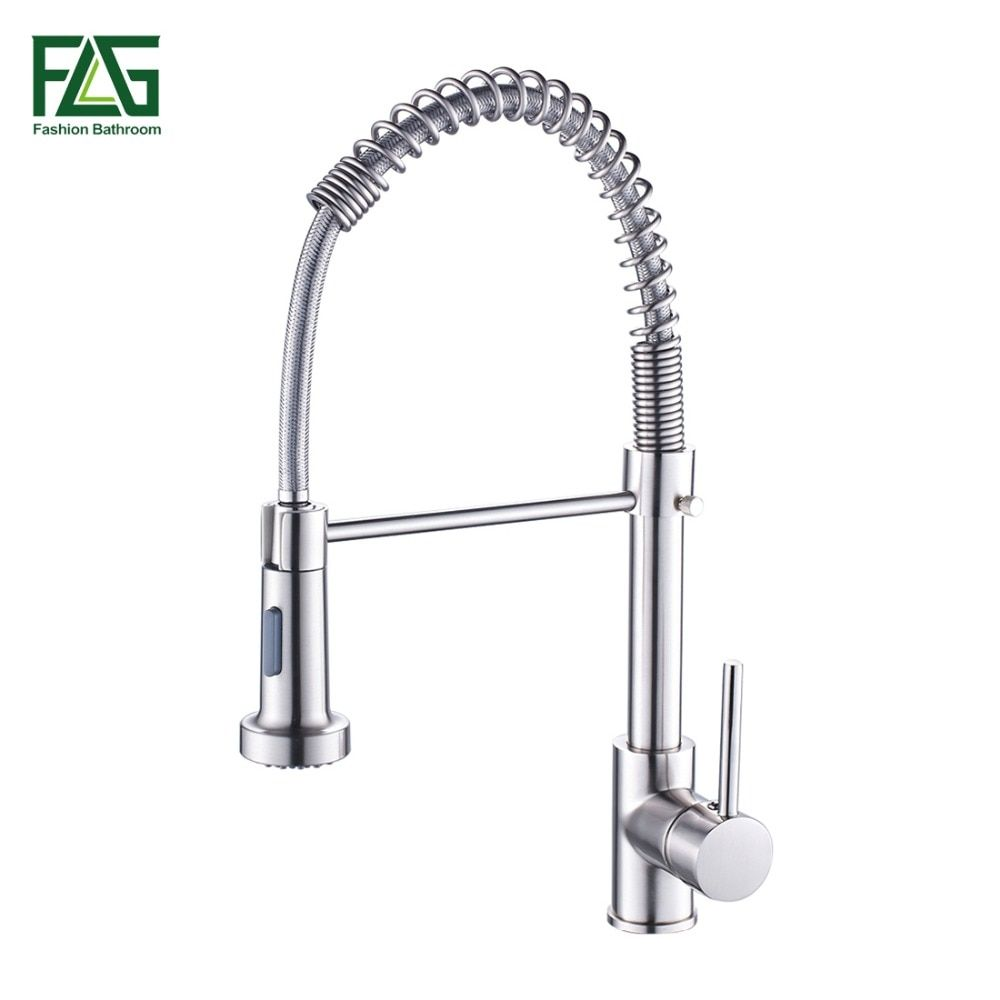 Spring <font><b>Style</b></font> Kitchen Faucet Brushed Nickel Faucet Pull Out Torneira All Around Rotate Swivel 2-Function Water Outlet Mixer Tap