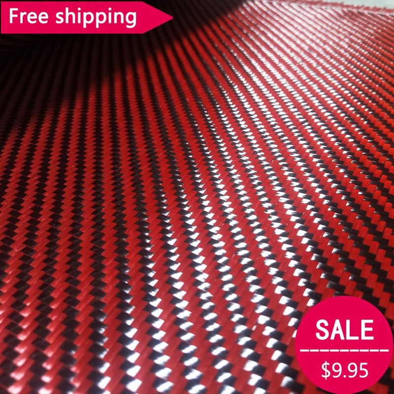 Free shipping Red Kevlar & 3K Carbon fiber mixed Fabric 12