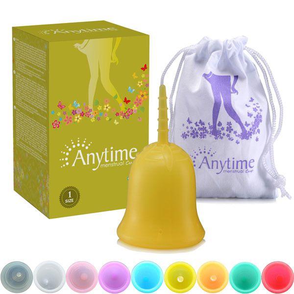 À tout moment Marque Doux Menstruel Silicone Période Tasse Grande Taille et S Taille pour L'hygiène Féminine AMC03