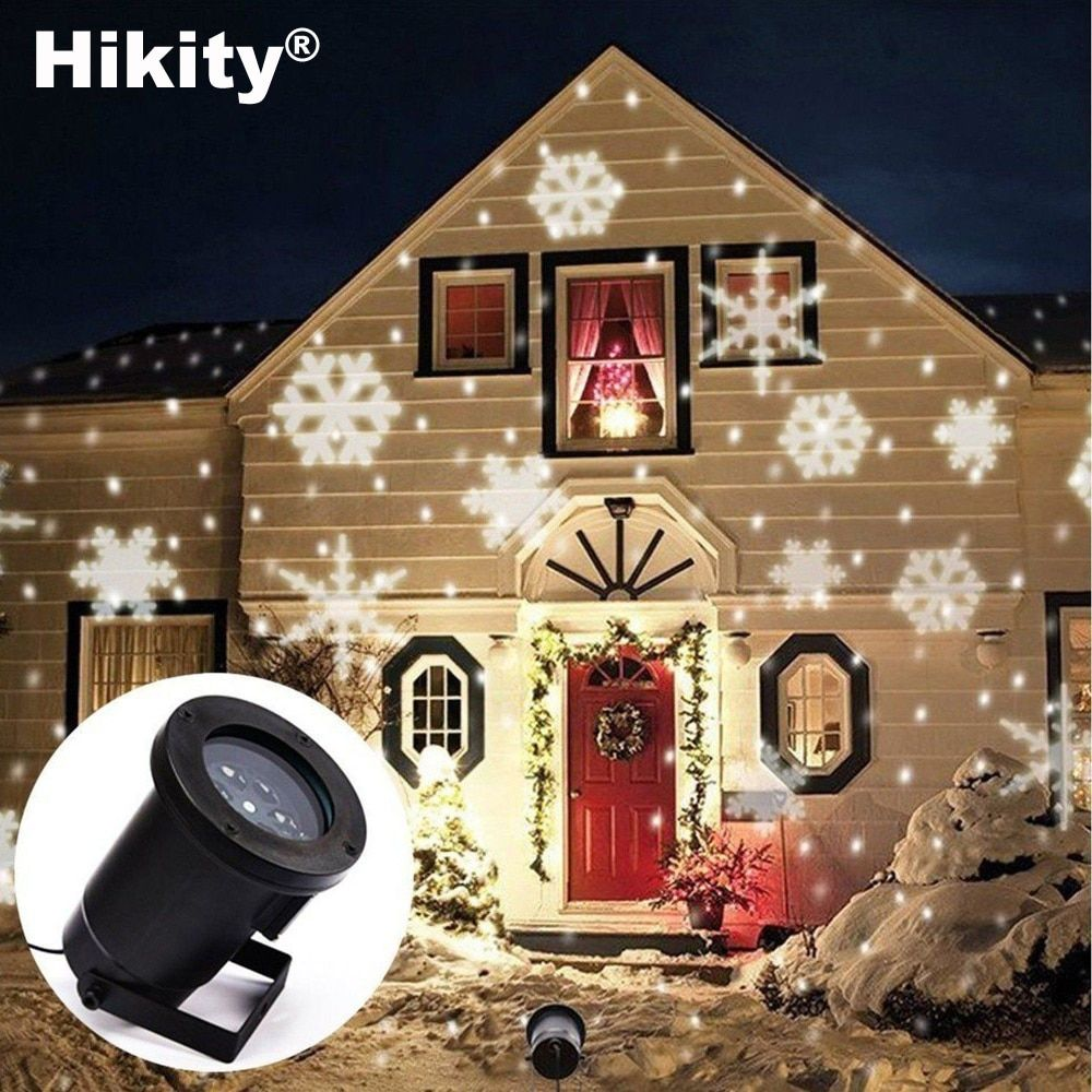 Hikity Jardín Decoración Auto En Movimiento del Copo de nieve de Navidad Decoración Del Árbol Del Paisaje Al Aire Libre Llevó Las Luces de Proyector de Iluminación de Interior