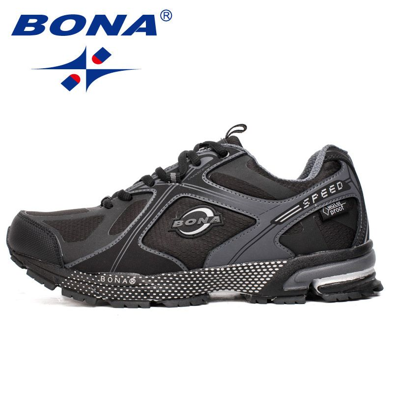BONA New Waterproof Style Men Running Shoes Ourdoor Walking Sneakers Lace Up Athletic Shoes Comfortable Light Fast Free Shipping