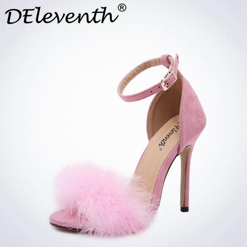 DEleventh Mujer Zapatos Del Verano Del Gladiador Sandalias de Tacón Alto 2017 de la Moda de Piel Sandlias Mujeres Sandalias Sexy Zapatos de Tacones de Aguja 43