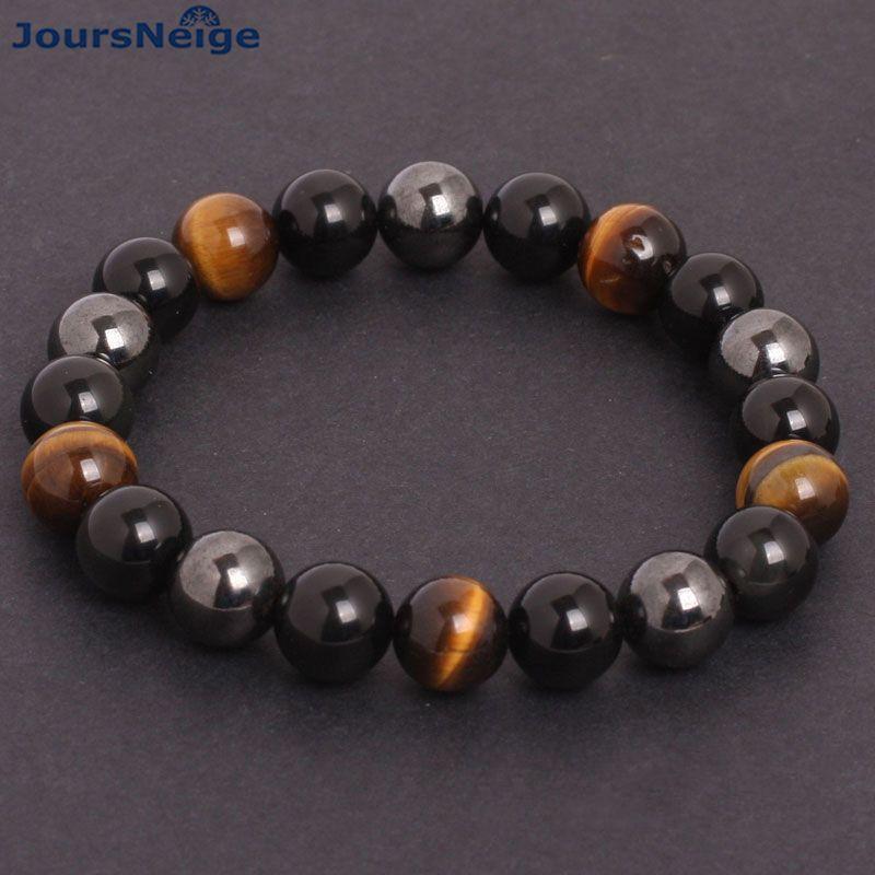 JoursNeige Men Bracelets Natural Stone Bracelets for Women 10mm Beads Black Obsidian Tiger Eye and Hematite Stone Bracelet