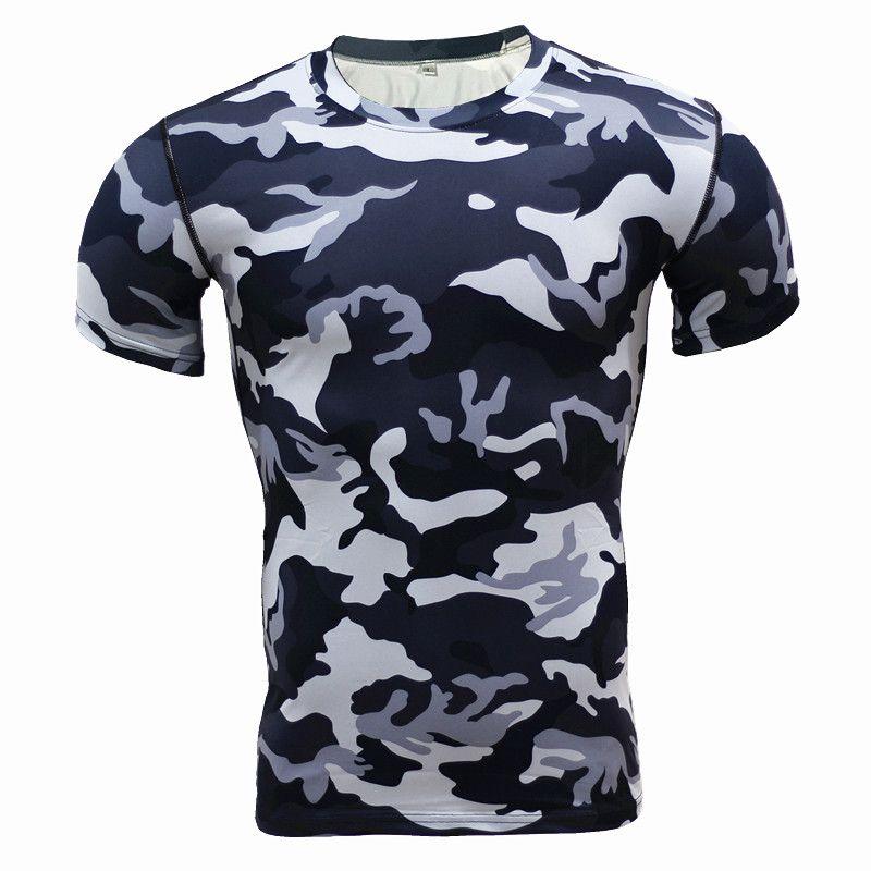 Nouveau 2017 couche de Base Camouflage T Shirt Fitness collants séchage rapide Camo T dessus de chemise et t-shirts entraînement chemise de Compression