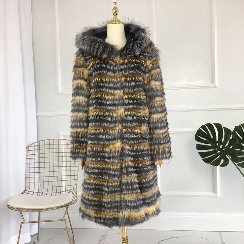 CNEGOVIK Neue mode silber fuchs pelz mantel mit kapuze pelz mantel silber fuchs echtpelz mantel 90 cm länge frauen rot fuchs pelz jacke