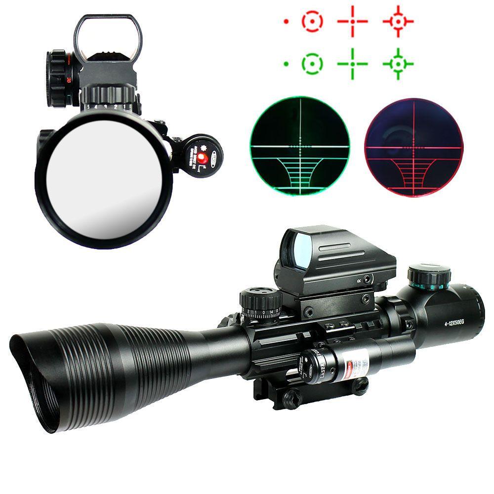 C4-12X50EG Тактический страйкбол оптический прицел с Голографической 4 типной Сеткой и красным лазер для Страйкбол и охота