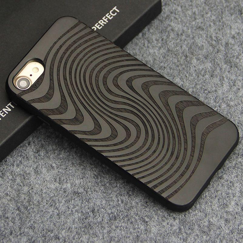 Cas de luxe pour iPhone 7 8 Plus Sculpture Nuages Totem Couverture En Bois De Bambou Naturel En Bois TPU Téléphone Cas pour iPhone X Coque Fundas