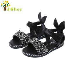 2018 Vente Chaude Bébé Fille Sandales De Mode Bling Brillant Strass Filles Chaussures Avec Oreille de Lapin Enfants Plat Sandales 13-22 CM