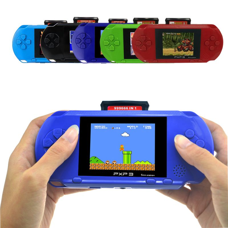 Portable 3 Inch 16 Bit PXP3 Slim Station Handheld Game Video Players With 2pcs Game Card Game Console Built-in 150 Classic Games