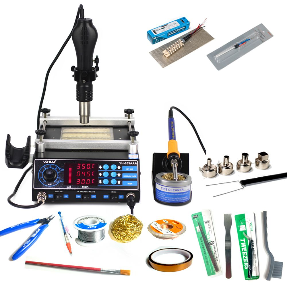 YIHUA 853AAA Soldering station 3 in 1 Bga Rework Station 650W SMD Hot Air Gun+ 60W Soldering Irons +500W Preheating Station