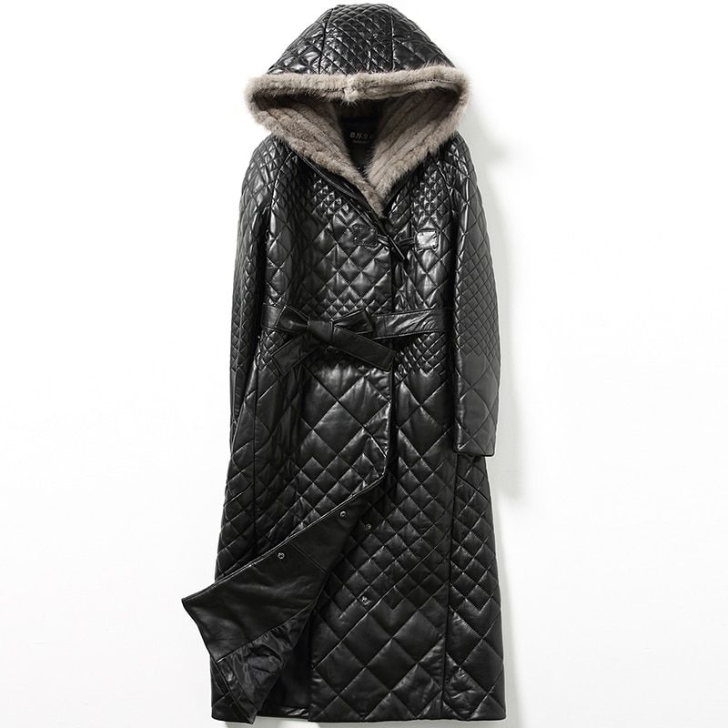 2018 Winter Coat Women Genuine Leather Jacket Women Real Sheepskin Jacket Black Long Korean Mink Fur Hooded Coat Plus Size ZT316