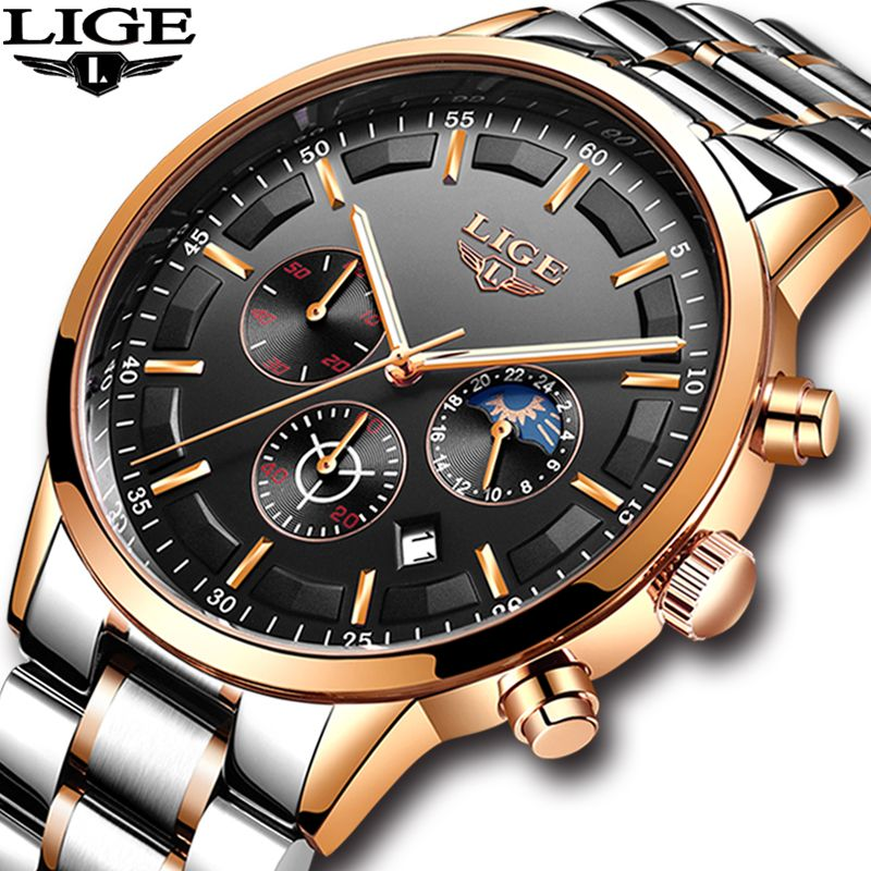 2018 Mens Watches LIGE Top Brand Luxury Men's Casual Business Watch Men Waterproof Sport Quartz Wrist watch relogio masculino