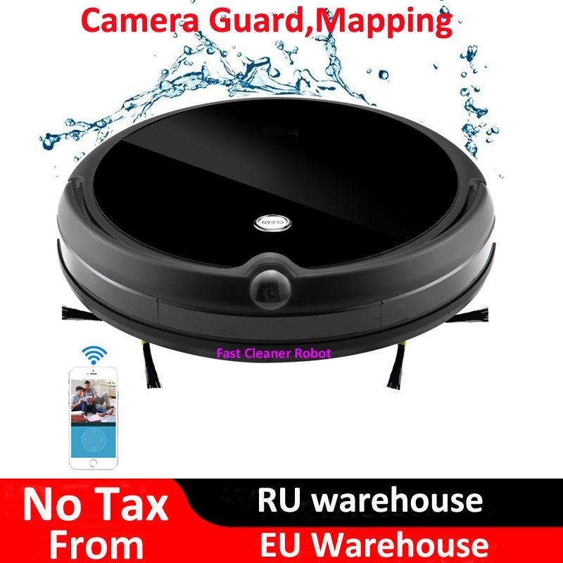 2019 kamera Schutz Video Anruf Nass Trocken Elektrische Staubsauger Roboter Mit Karte Navigation, WiFi App Control, smart Memory, Wasser Tank