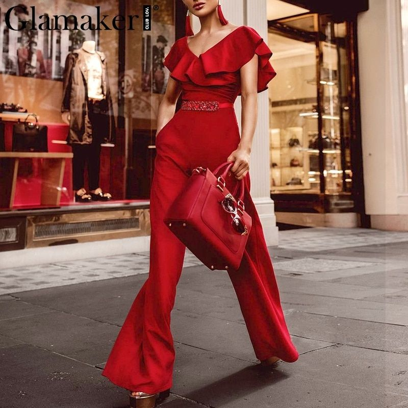Glamaker Elegant ruffle summer jumpsuit Women sexy off shoulder belt jumpsuit overalls Streetwear <font><b>wide</b></font> leg jumpsuits rompers 90s