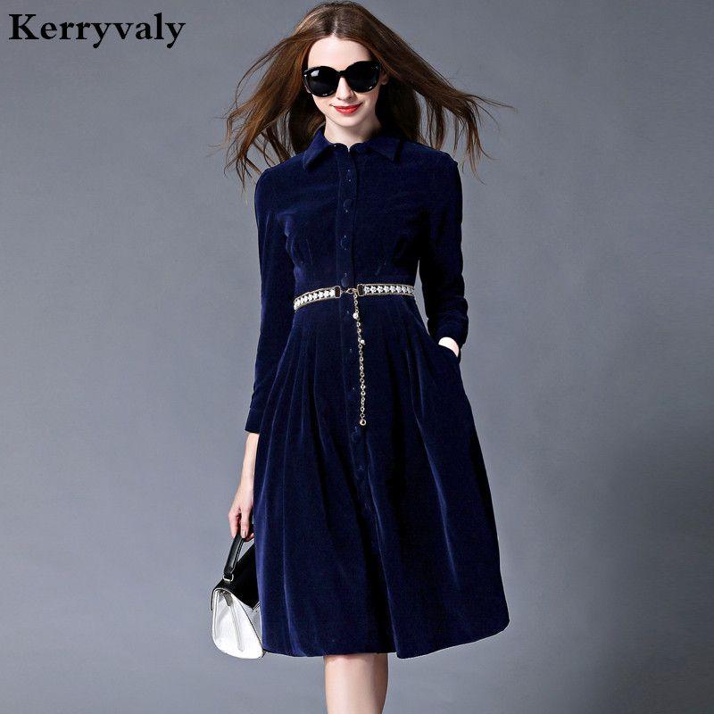 OL Style Blue Velvet Dress Winter Dresses Women 2018 Vestido Longo Woman Long Sleeve Office Dress Ropa Mujer Robe Longue 732102