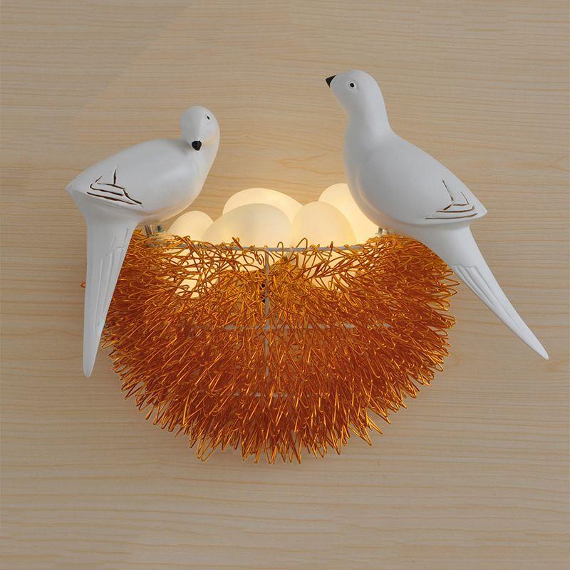 Bird Nest LED Wall Lamp Children Bedroom Study Room Restaurant Decoration Novelty Wall Light
