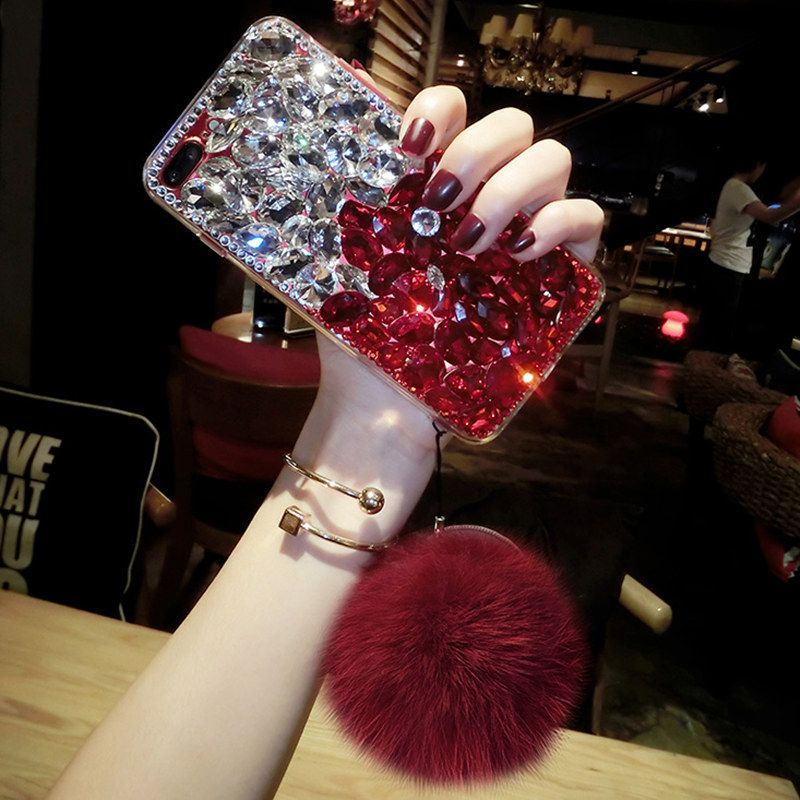 For Samsung S5 S6 S7 edge S8 S9 Plus Note 3 4 5 8 Crystal Diamond rhinestone soft Phone case Fur ball pompom Bling Back Cover
