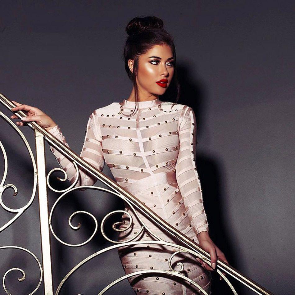 Seamyla 2019 Nouveau Printemps Celebrity tenue de fête Femmes Genou Longueur Moulante Robes Sexy Maille à manches longues Perlée robes bandage
